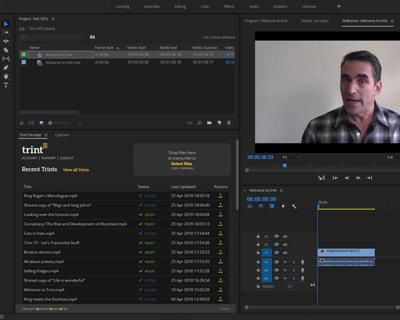 Trint Adobe Premiere Extension Panel