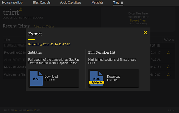 Trint Adobe Premiere Pro Extension Screen 5