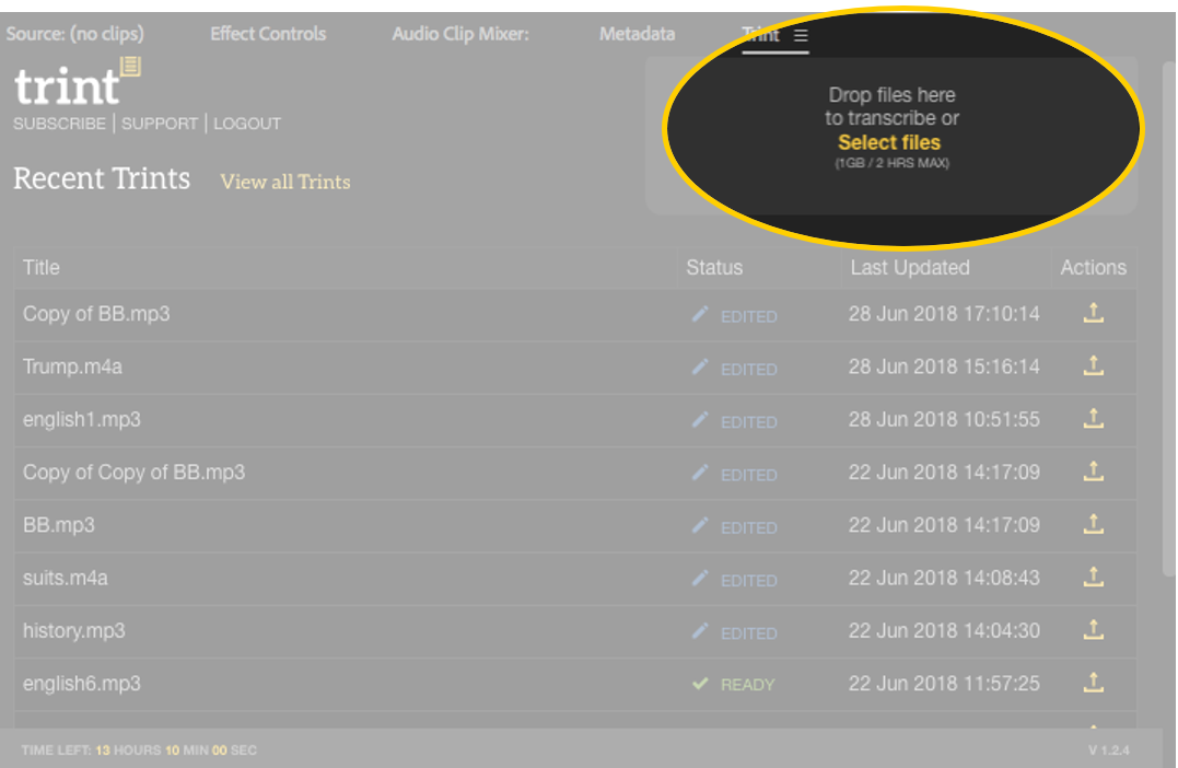 Trint Adobe Premiere Pro Extension Screen 7