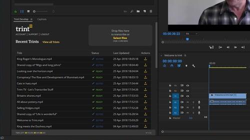 Trint Transcription Extension for Adobe Premiere Pro CC