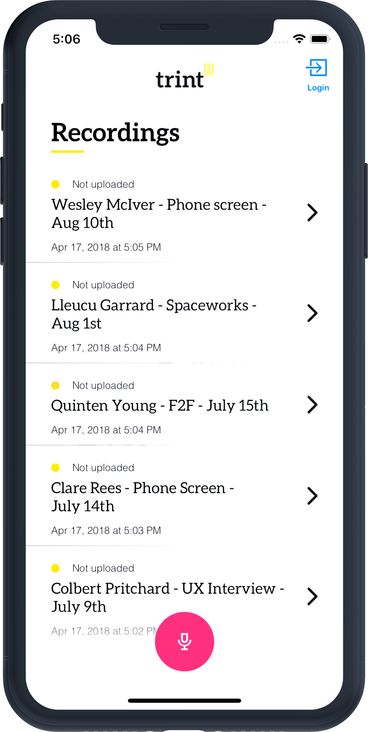 Trint mobile transcription app for iPhone